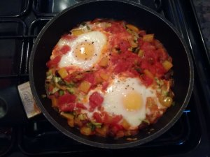 Cooking Huevos Rancheros